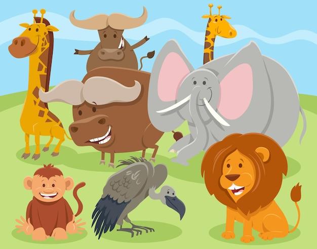 Cartoon gelukkig wild dier tekens groep