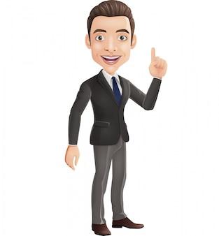 Cartoon gelukkig zakenman die omhoog wijst