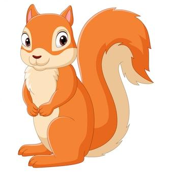 Cartoon gelukkige eekhoorn geïsoleerd op een witte achtergrond