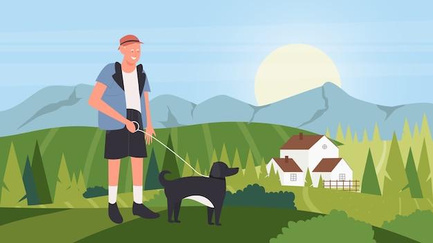 Cartoon gelukkige eigenaar man lopen met huisdier metgezel