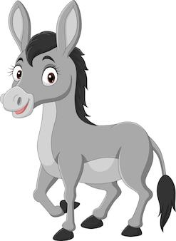 Cartoon gelukkige ezel op witte achtergrond