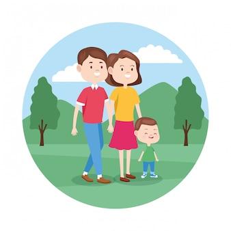 Cartoon gelukkige familie met hun zoon wandelen