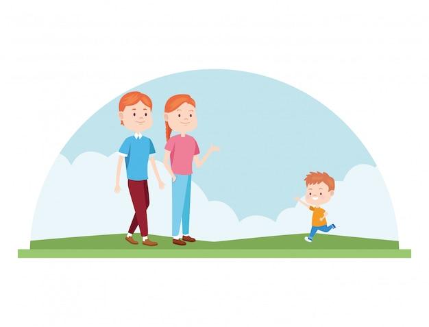 Cartoon gelukkige familie met kleine jongen in de natuur buiten