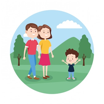 Cartoon gelukkige familie met kleine jongen in het park