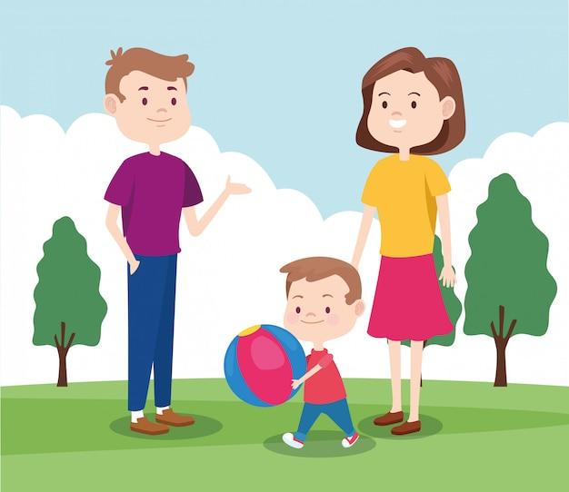 Cartoon gelukkige familie met kleine jongen