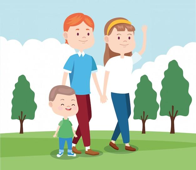 Cartoon gelukkige familie wandelen in het park