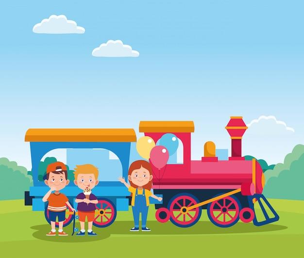 Cartoon gelukkige jonge geitjes en trein met wagen