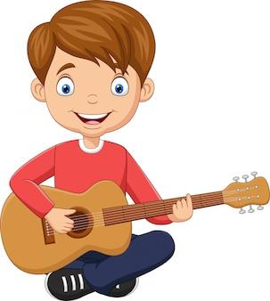 Cartoon gelukkige jongen gitaar spelen
