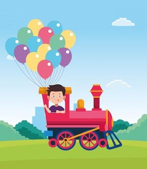 Cartoon gelukkige jongen in een trein met kleurrijke ballonnen