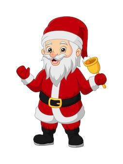 Cartoon gelukkige kerstman die een belletje doet rinkelen