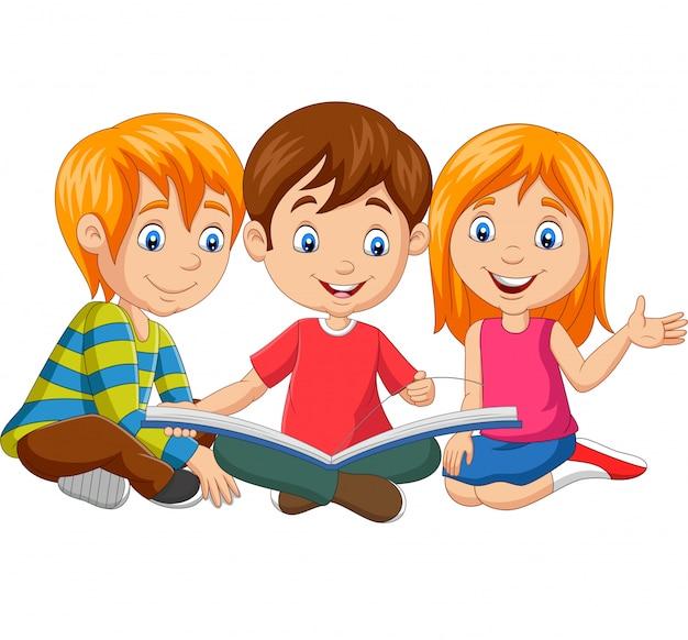 Cartoon gelukkige kinderen lezen van een boek