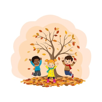 Cartoon gelukkige kinderen spelen in de herfst