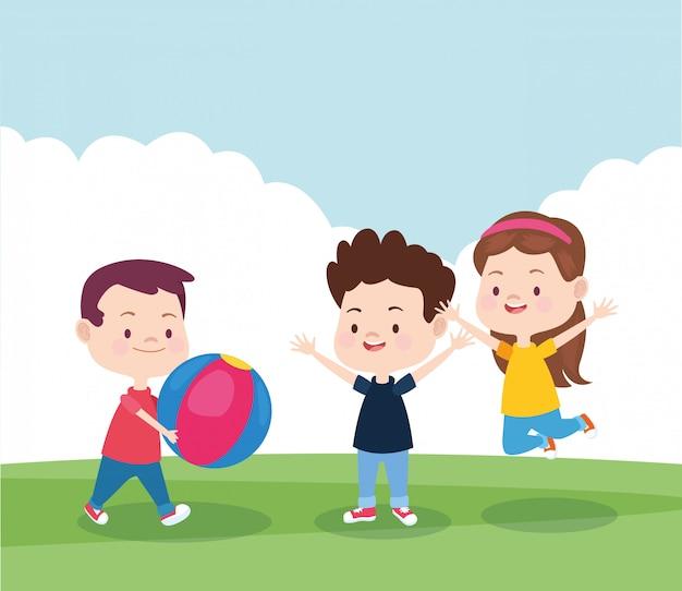 Cartoon gelukkige kinderen