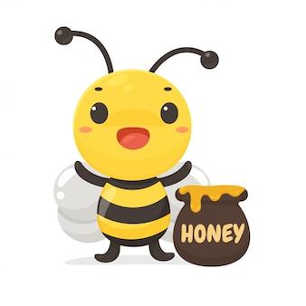 Cartoon gelukkige kleine bijen die honing van bloemen kunnen verzamelen.