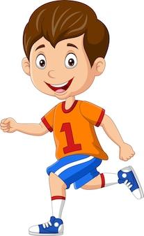 Cartoon gelukkige kleine jongen rennen