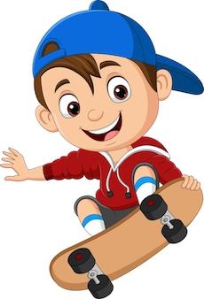 Cartoon gelukkige kleine jongen skateboarden