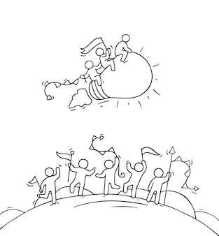 Cartoon gelukkige kleine mensen met lamp idee starten.
