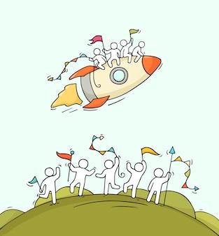 Cartoon gelukkige kleine mensen met startende raket. hand getekend