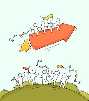 Cartoon gelukkige kleine mensen met startpijl als raket. doodle schattige miniatuurscène van arbeiders en startconcept.