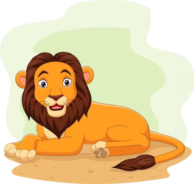 Cartoon gelukkige leeuw in het veld