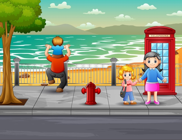 Cartoon gelukkige mensen in de straatillustratie