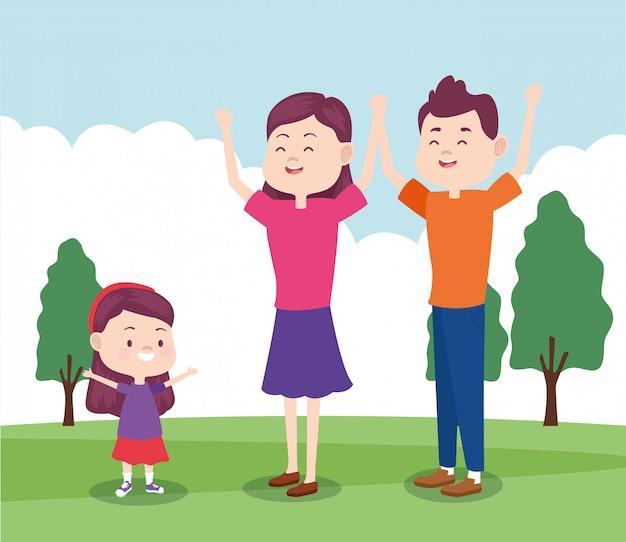 Cartoon gelukkige moeder en vader met hun dochter in het park