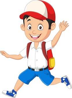 Cartoon gelukkige schooljongen in uniform hardlopen