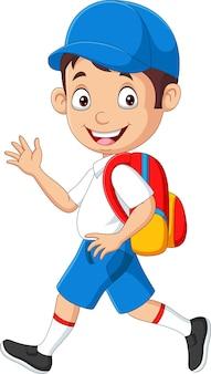 Cartoon gelukkige schooljongen in uniform zwaaiende hand