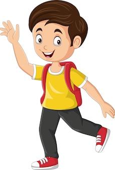 Cartoon gelukkige schooljongen zwaaiende hand