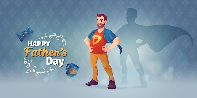 Cartoon gelukkige vaderdag achtergrond