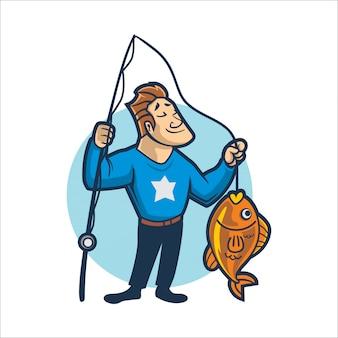 Cartoon gemakkelijk vissen