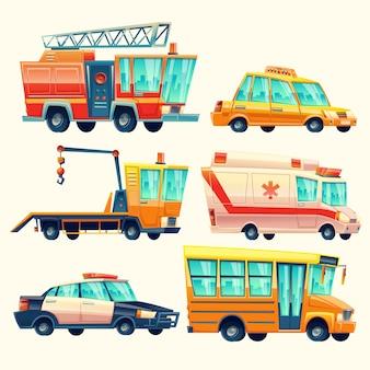 Cartoon gemeentelijke stadsdiensten, nooddiensten, politieauto, brandweerwagen, ambulance, taxivervoer