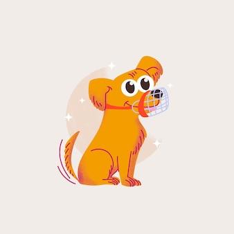 Cartoon gemuilkorfde hond geïllustreerd