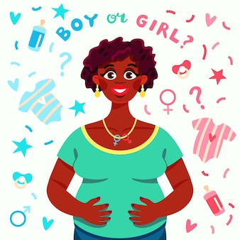 Cartoon gender reveal concept geïllustreerd