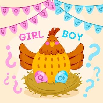 Cartoon gender reveal party concept