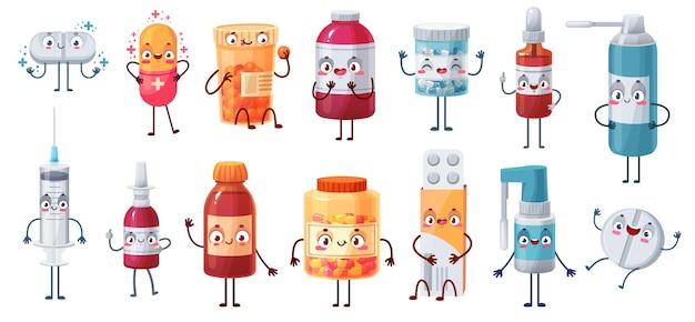 Cartoon geneeskunde mascottes instellen