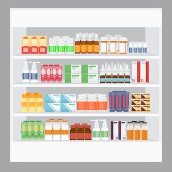 Cartoon geneeskunde te koop weergeven in rekstandaard in de apotheek