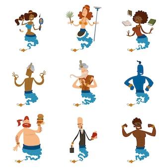 Cartoon genie karakter magische lamp illustratie schat aladdin wonder djinn coming out legende set wens magische tovenaar