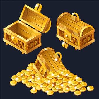 Cartoon gesloten en geopende houten isometrische kisten