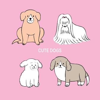 Cartoon gesneden schattige honden vector.