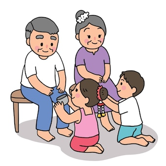 Cartoon gesneden songkran festival thailand, grootvader en grootmoeder en kinderpark thaise stijl.