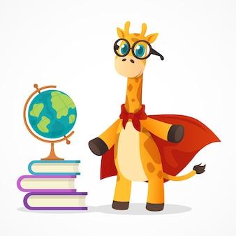 Cartoon gevlekte student giraffe mascotte in rode mantel en glazen met boeken en globe