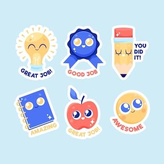 Cartoon geweldig werk stickerspakket