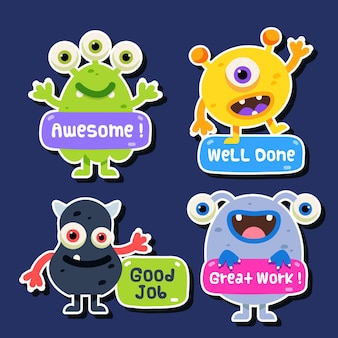 Cartoon geweldige job stickers set