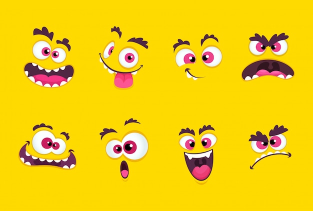 Cartoon gezichten. emoties grijnzende uitdrukkingen, glimlachende mond met tanden en tekensverzameling met bange ogen