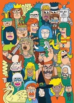 Cartoon gezichten menigte doodle handgetekende patroon