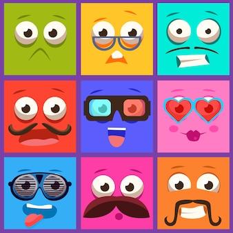 Cartoon gezichten met emoties en snor set