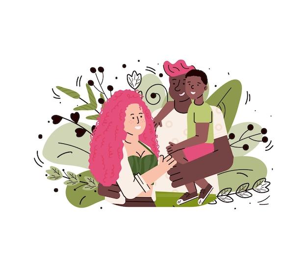 Cartoon gezin met kind knuffelen - gemengd paar houden hun zoon en lachend op groene bladeren achtergrond. geïsoleerde illustratie.