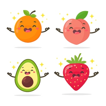 Cartoon gezond fruit sinaasappelen, perziken, avocado en aardbeien geïsoleerd op een witte achtergrond