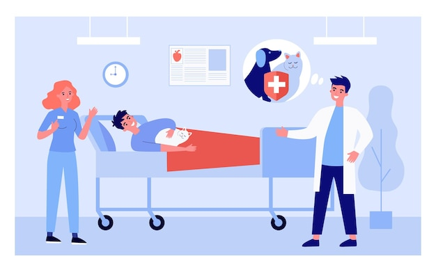 Cartoon gezondheidswerkers, patiënt liggend in bed met kat.